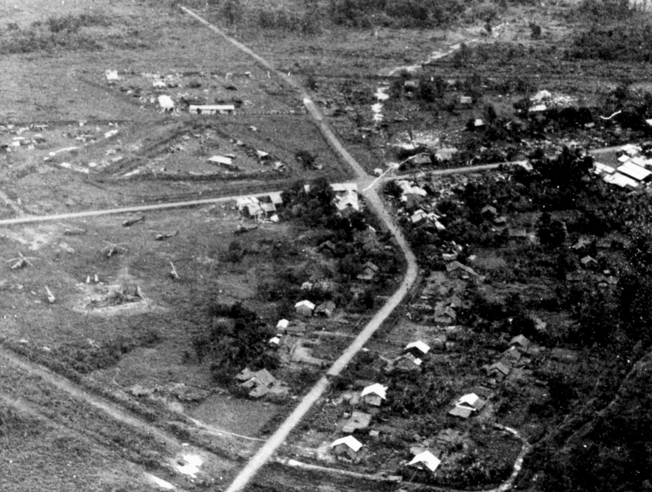 <p>Special Forces camp at Dong Xoai after the Viet Cong attack, June 1965. The Special Forces compound supported three CIDG companies: a Regional Forces company, a small Vietnamese Special Forces detachment, and an armored car platoon.&nbsp; The Viet Cong attacked close to midnight on 10 June 1965, letting loose a 200-round barrage of 60mm mortars followed by a wave of hundreds of Viet Cong attacking the walls of the compound.</p>