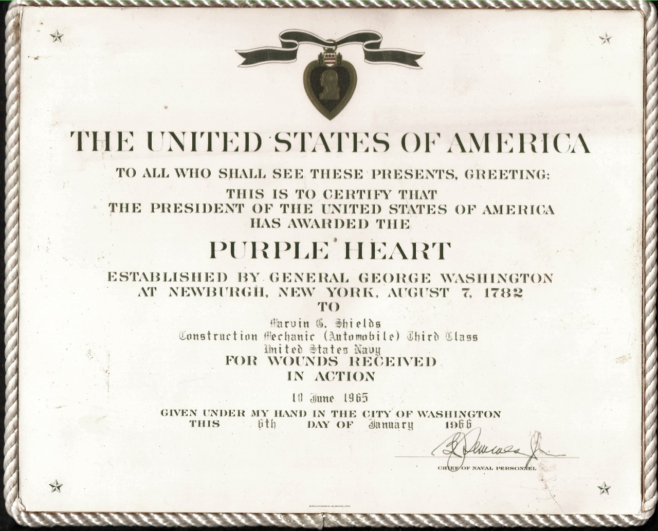 <p>Purple Heart Award for Marvin Shields</p>