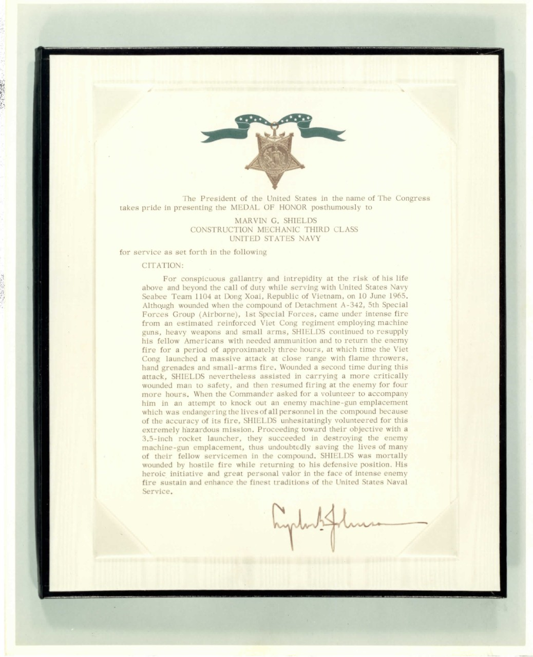 <p>Marvin Shields Medal of Honor Award</p>