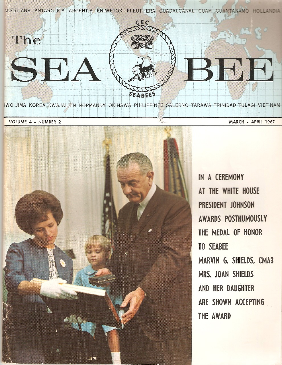 <p>The Seabee Magazine cover - Marvin Shields Postumously Awarded Medal of Honor</p>