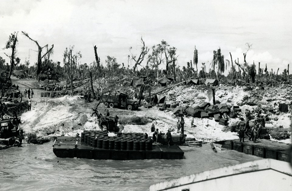 The LST loaded with equipment  of the 1884th Engineer Aviation Battalion, nears the beachead on Angaur Island