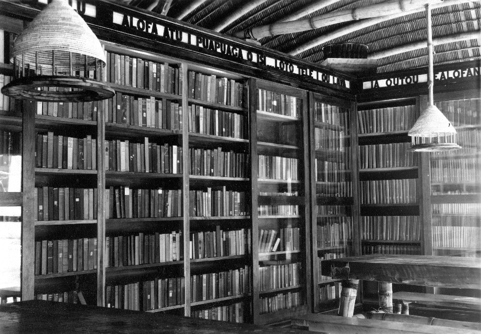 Interior of the American Samoa Library, Pago Pago, Tutuila, Samoa, shortly after construction was completed in 1938. Designed by the Civil Engineer Corps officers in the Public Works Department, the library was made entirely of native materials.