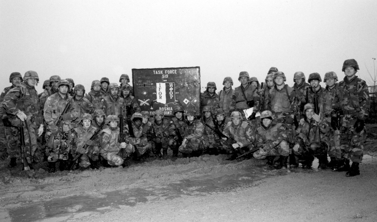 Naval Mobile Construction Battalion Forty deployed to Bosnia-Herzegovina as part of Task Force 519, IFOR, in support of Operation Joint Endeavor, 1996. Throughout the harsh freezing winter and amid the seas of mud, the Seabees of NMCB-40 tactically retrograded U.S. Army base camps, transported materiel, dismantled camps, supported Camp Colt's LSA, removed snow and ice, and completed numerous other missions that spread the personnel throughout the sector.