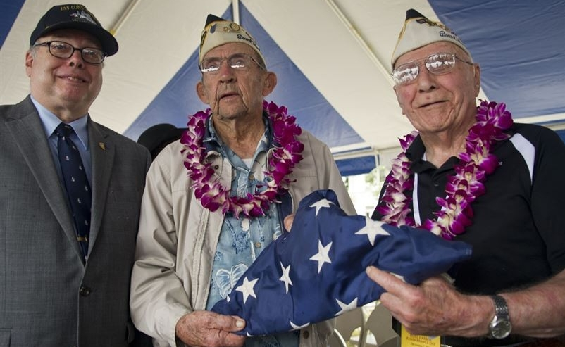 Director Cox with two Pearl Harbor survivors, 2016
