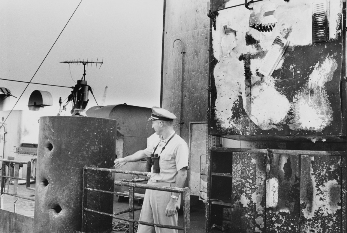 Photo #: NH 97476  Commander William L. McGonagle, USN, Commanding Officer, USS Liberty (AGTR-5)