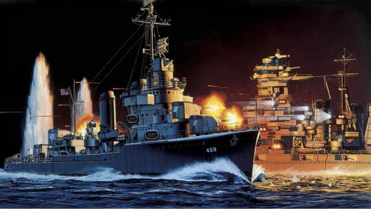 Navy Art Collection painting that depicts destroyer Laffey just after she has crossed under the Japanese battleship Hiei's bow and is engaging the battleship with 5-inch and 20-mm guns—and sidearms—at near-point-blank range on 13 November 1942 off Guadalcanal.