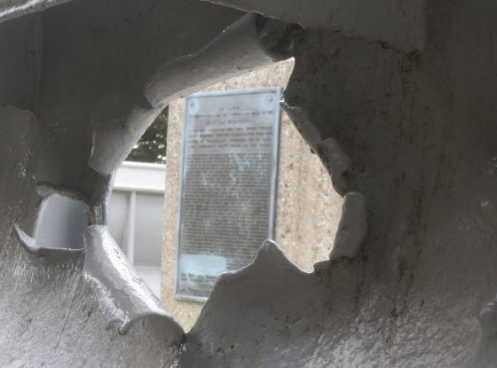 USS San Francisco Memorial in San Francisco, California, showing damage to her port bridge wing sustained on 13 November 1942.