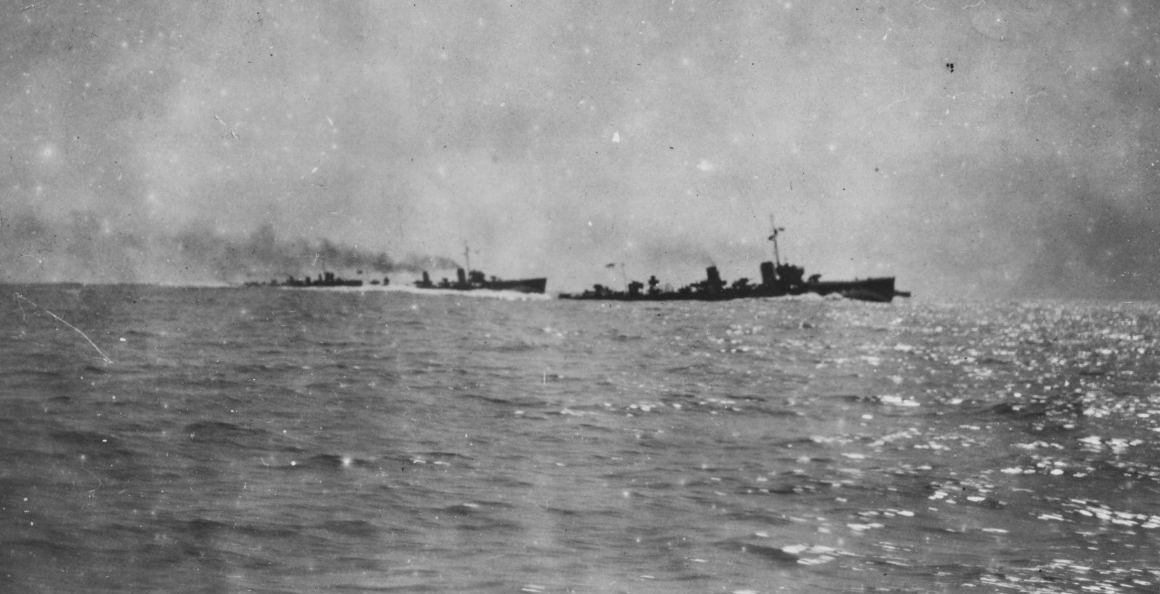 Bombardment of DURAZZO during World War I. British destroyers