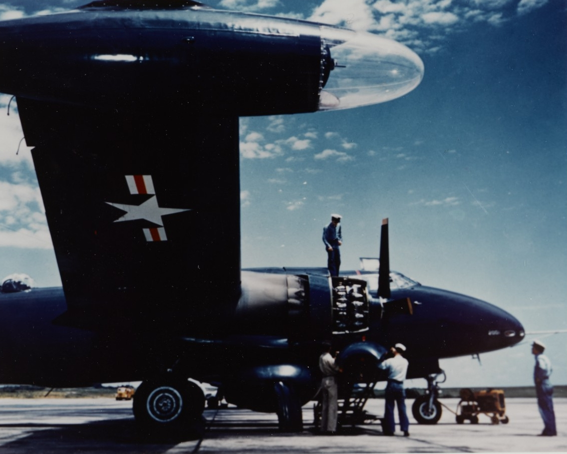 Lockheed P2V Neptune being serviced at Naval Air Test Center, Patuxent River, Maryland, circa 1950s