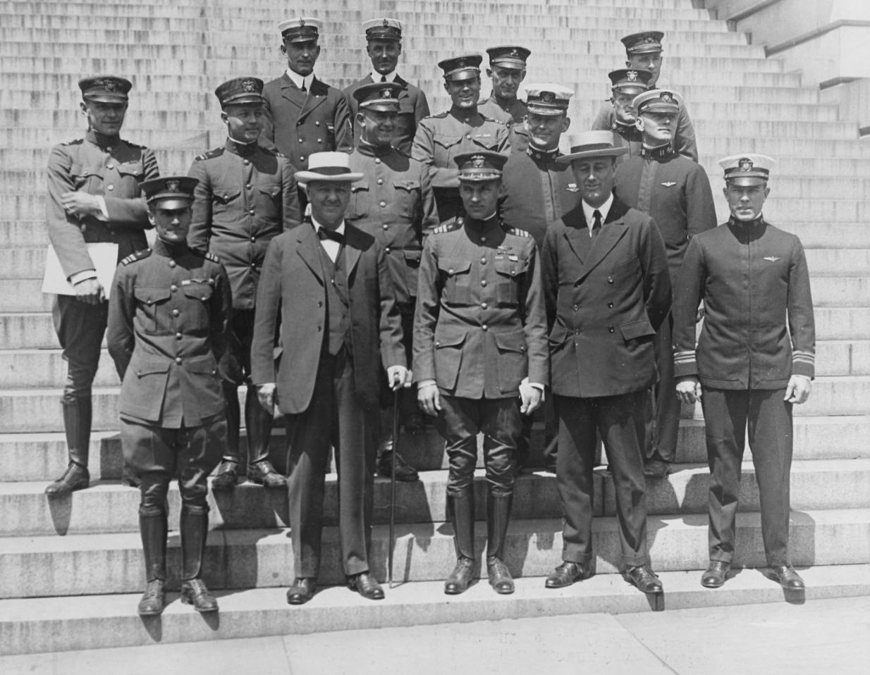 Lieutenant Commander A. C. Read; Josephus Daniels, Secretary of the Navy; Commander John H. Towers; Franklin D. Roosevelt, Assistant Secretary of the Navy; Lieutenant Commander P. Bellinger; Commander Richardson.