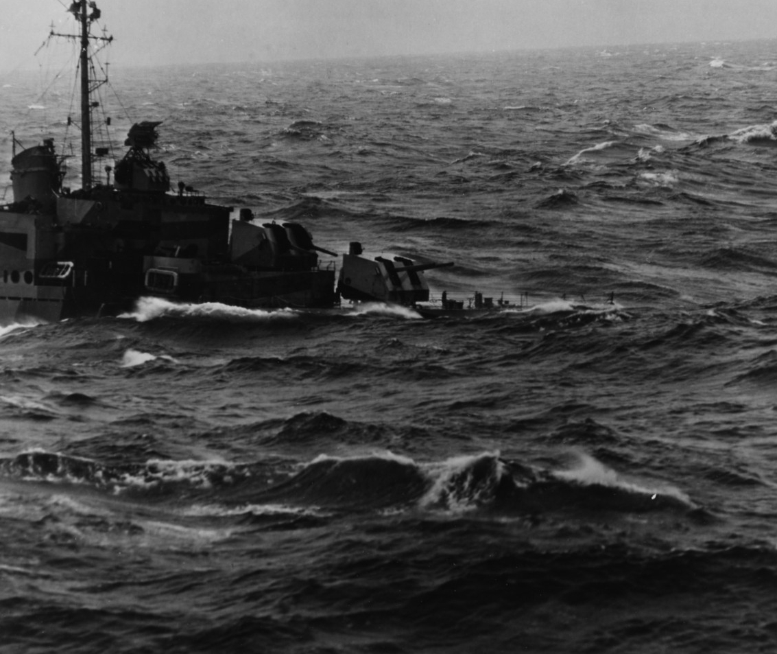 Destroyer in heavy seas