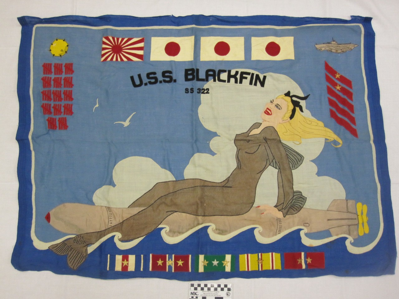 Mermaid riding a torpedo with japanese flags at the top and awards at the bottom