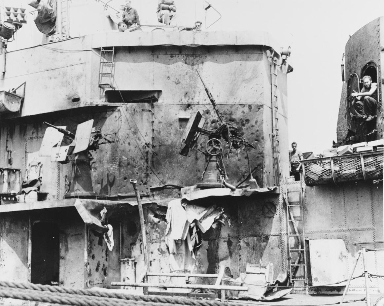 USS LAFFEY (DD-724) Severely Damaged