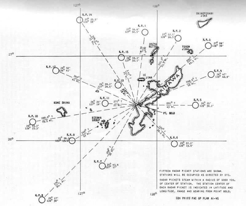 <p>Chart showing radar picket positions off Okinawa,&nbsp;March-May 1945. Excerpted from &quot;Battle Experience: Radar Pickets and Methods of Combating Suicide Attacks Off Okinawa, March-May 1945,<b>&quot; </b>COMINCH Headquarters, Washington, DC, 20 July 1945.</p>