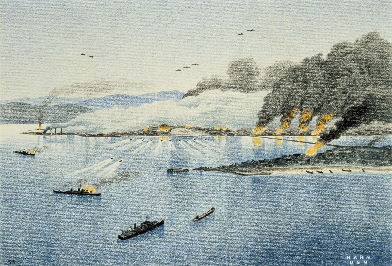 Navy Art: 88-191-BB. Inchon. Drawing, Colored Pencil on Paper; by Herbert C. Hahn; C 1951; Framed Dimensions