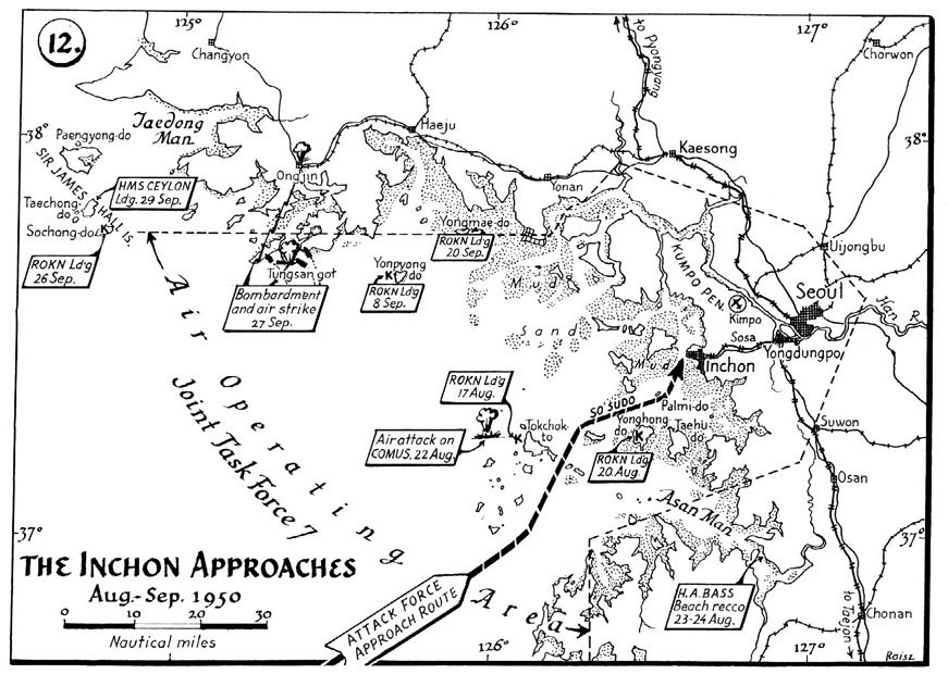 The Inchon Approaches, August–September 1950. (map from History of US Naval Operations: Korea)