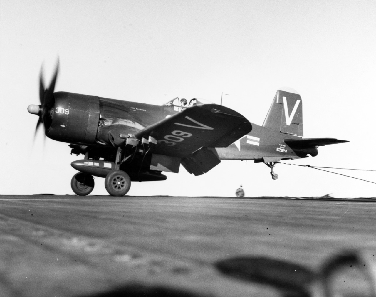 photo of Corsair airplane landing on aircraft carrier