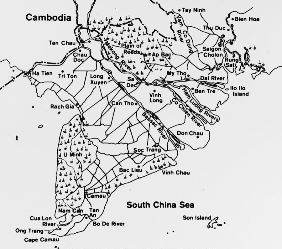map of Vietnam in early 1970s