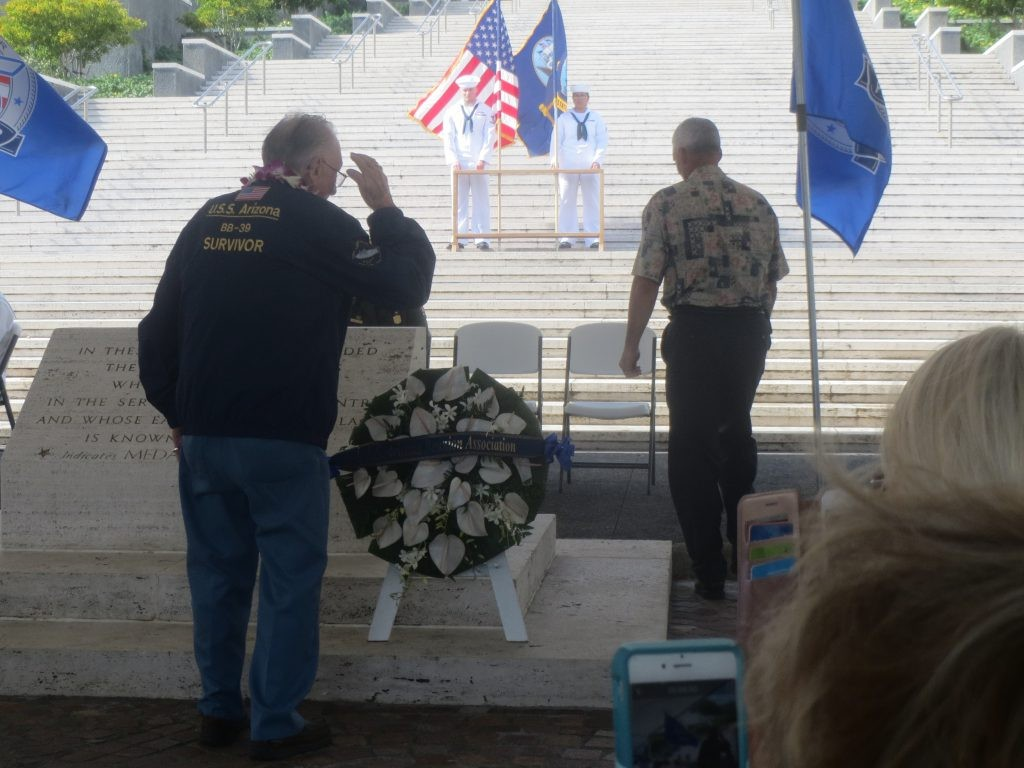 USS Arizona (BB 39) survivor Don Stratton pays tribute to the Sailors lost on the ship during a wreath laying ceremony at the National Cemetery of the Pacific at Punchbowl in Honolulu. The ceremony provided the opportunity for those in attendance to honor the fallen men of the Pennsylvania-class battleship USS Arizona.