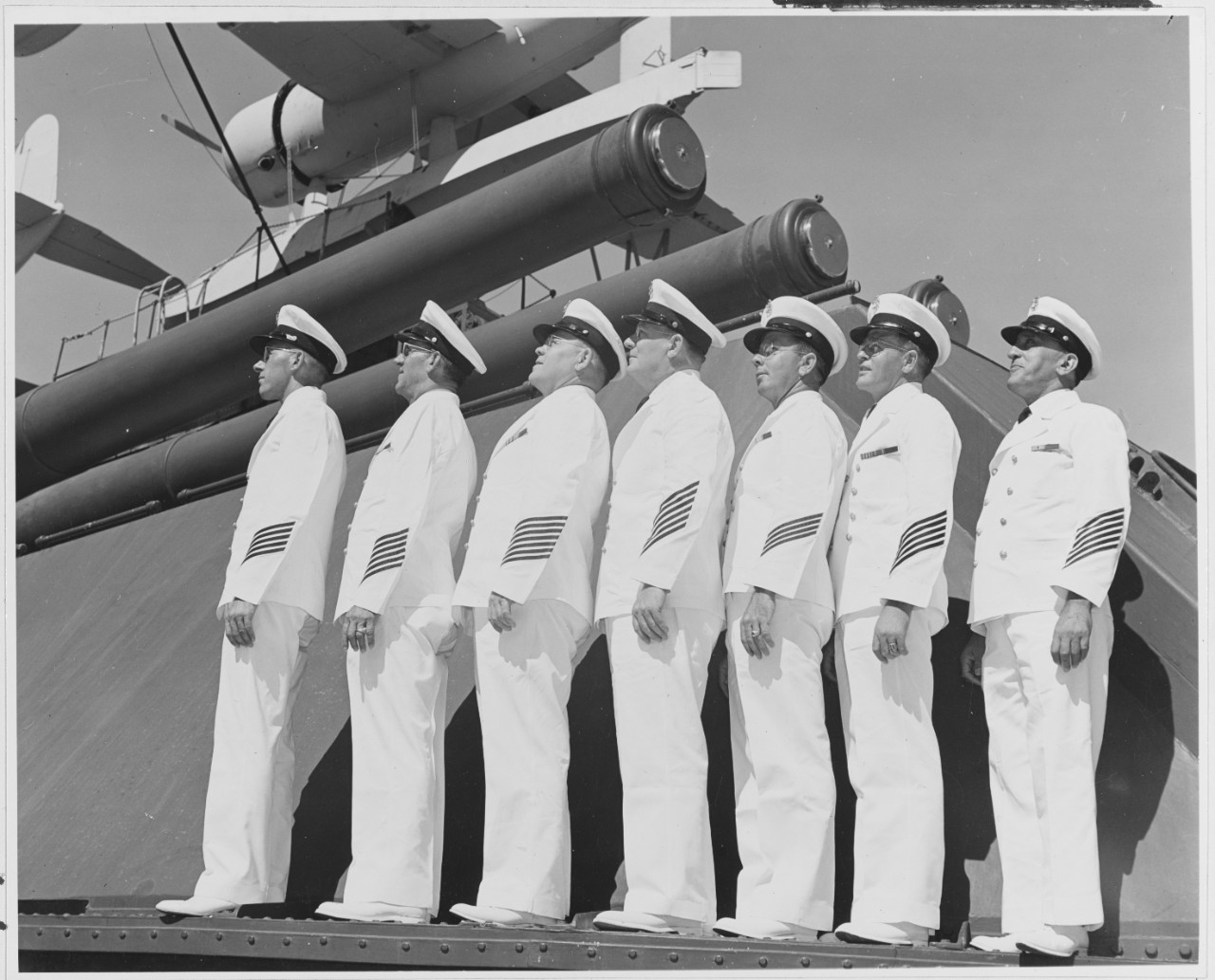 "Seven Veteran chief petty Officers of the U.S.S. Pennsylvania of the United States Pacific Fleet prove the ancient adage: ""men make the Navy"""