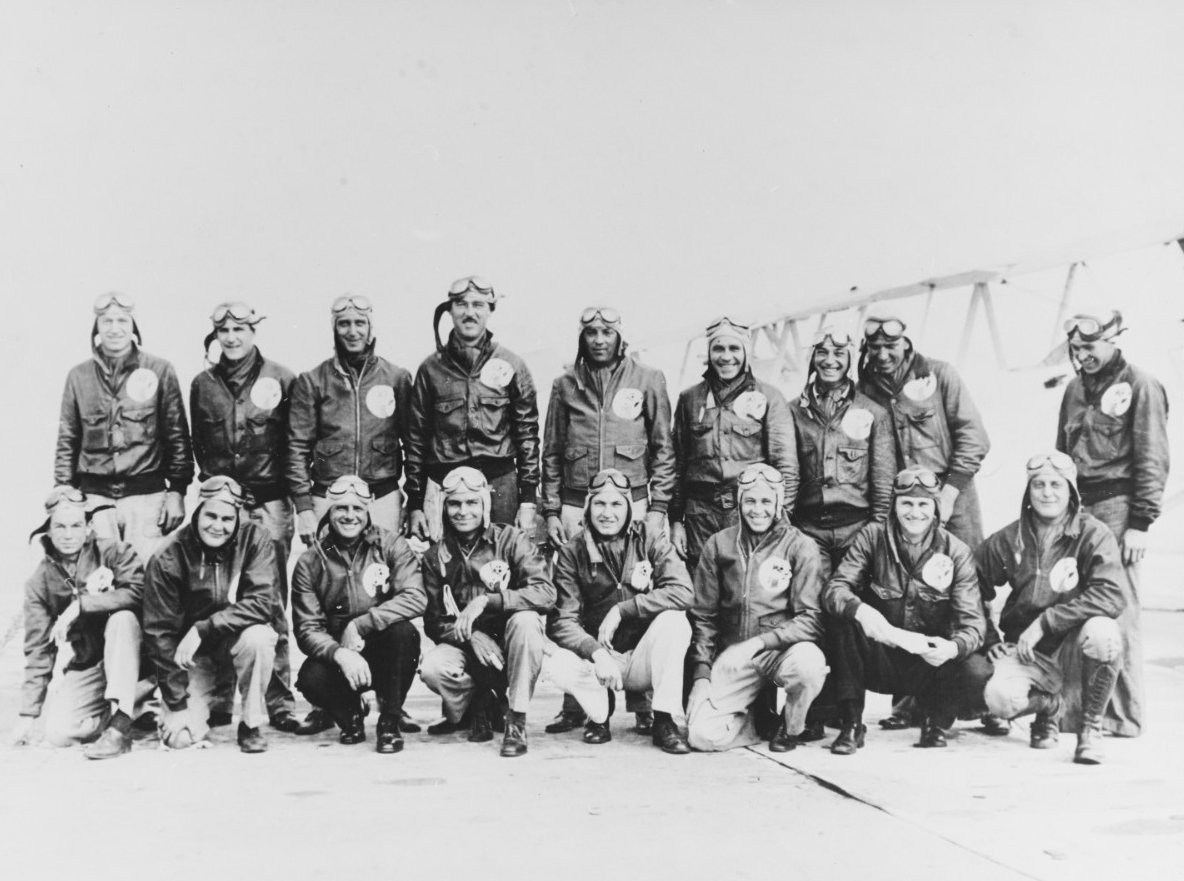 Men of the Naval Reserve Air Squadron based at Floyd Bennett Field, New York and regular navy station keepers.