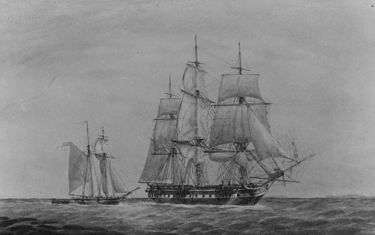 The U.S. Frigate USS PRESIDENT Capturing the British Schooner HMS HIGHFLYER, September 1813