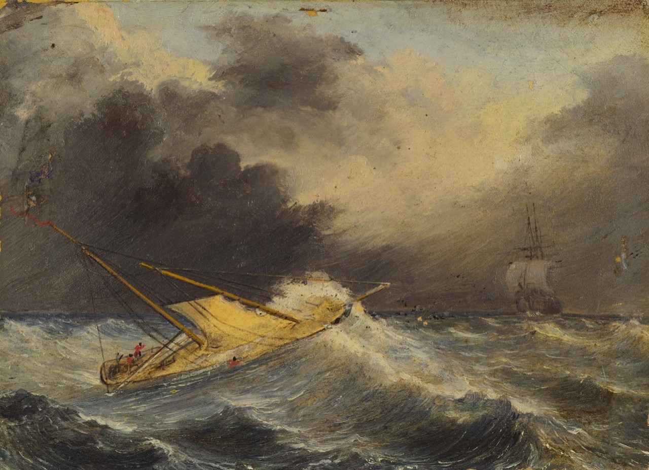 Schooner Porpoise and Flying Fish in Heavy Seas