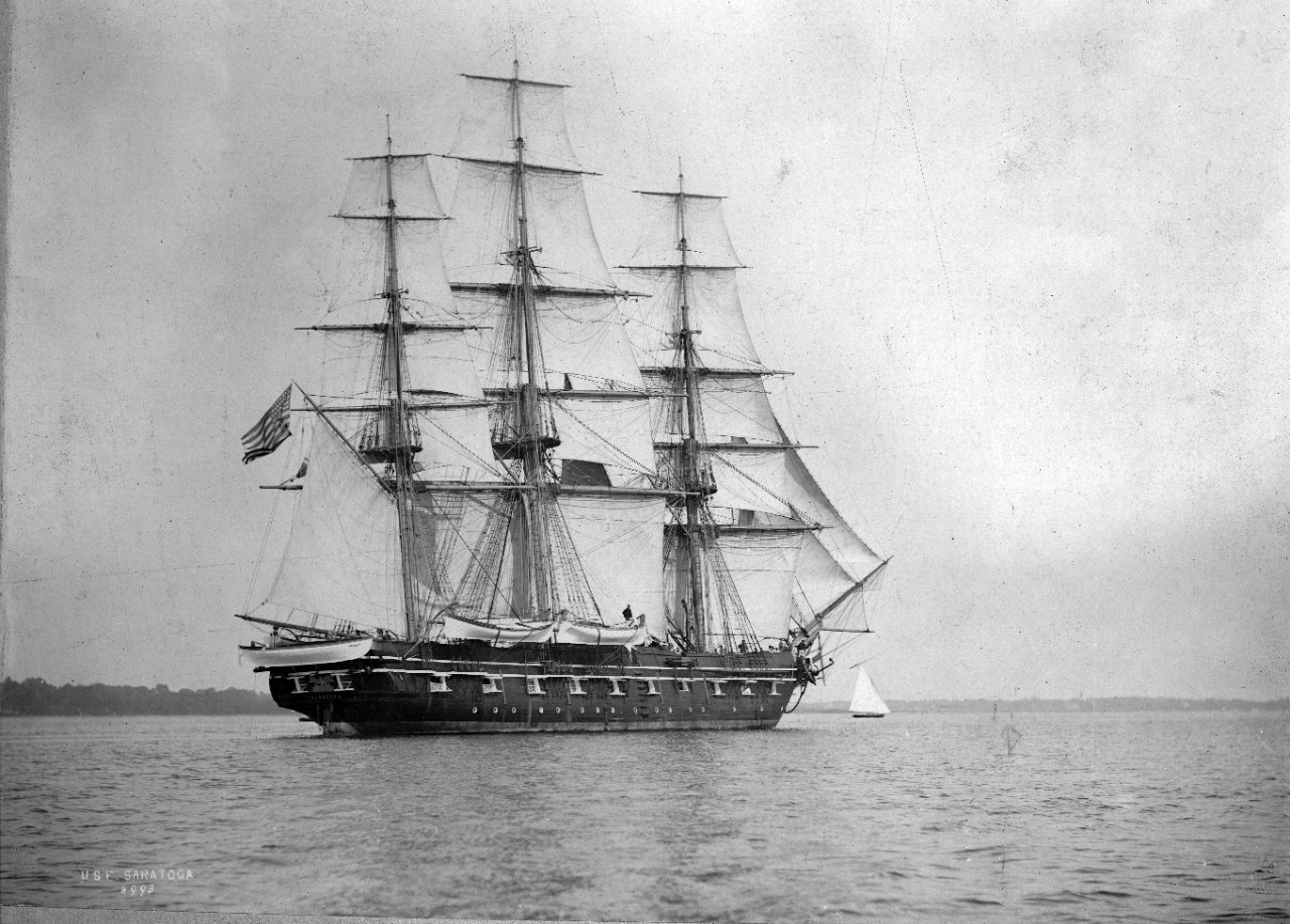 USS Saratoga under full sail off Plymouth, England, summer 1897