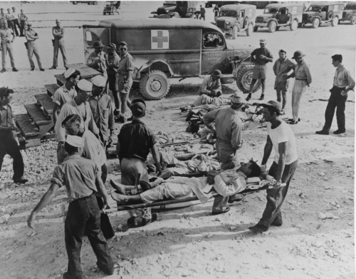 Survivors en route to hospital, circa early August 1945.