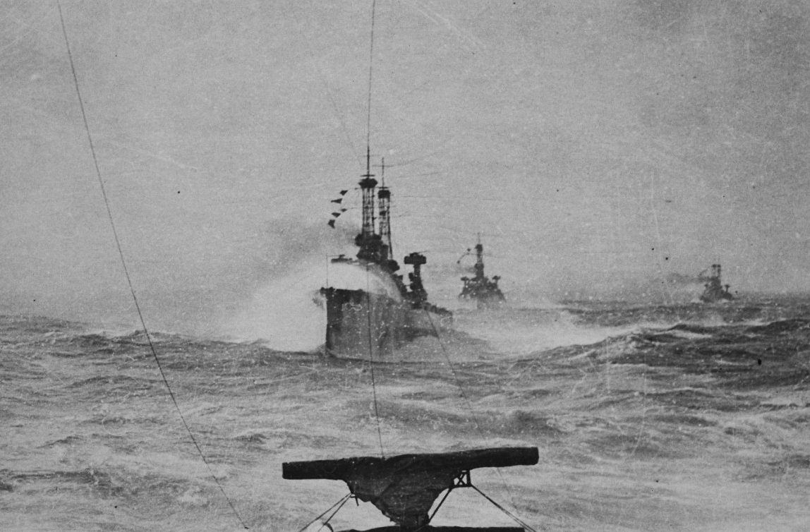 Battleships in North Sea weather