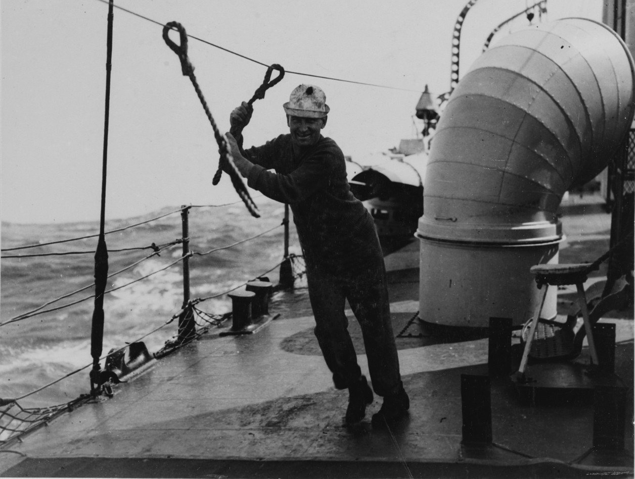 Life Line on a U.S. Destroyer for Rough Weather