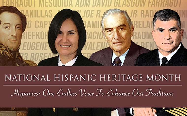 A banner for the Hispanic Americans in the Navy webpage consisting of three photographs featuring Hispanic American U.S. Navy servicemembers.