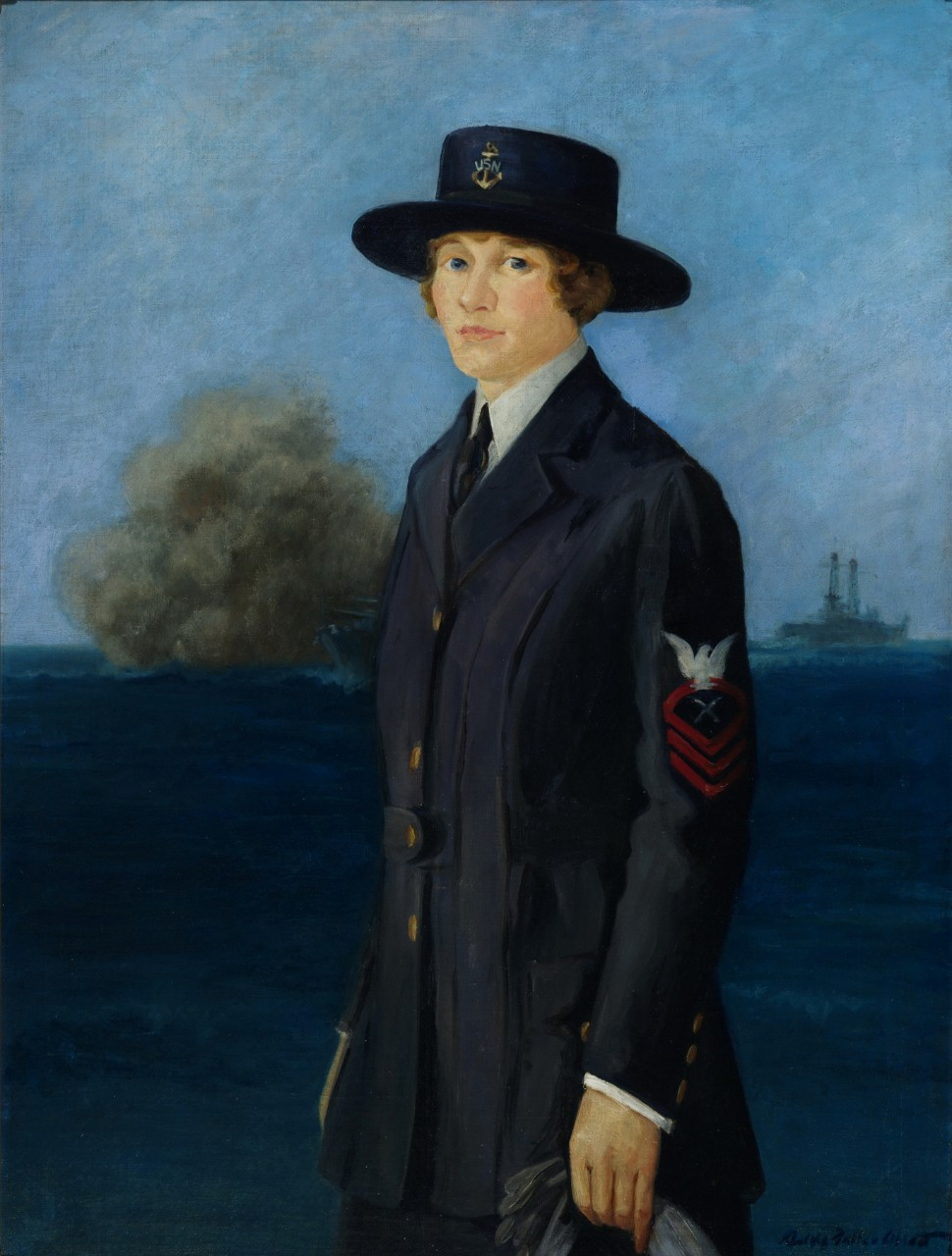 A portrait of a woman wearing a World War I uniform, in the far background is a ship firing its guns