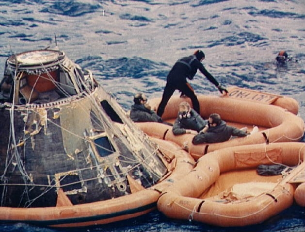 : Apollo 14 Astronauts Assisted Out of Command Module by Navy Divers