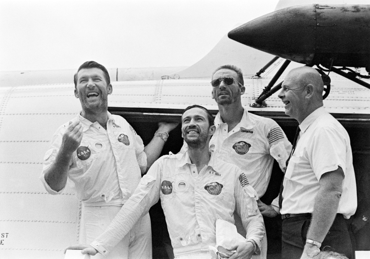 The Apollo 7 Crew Aboard the USS Essex