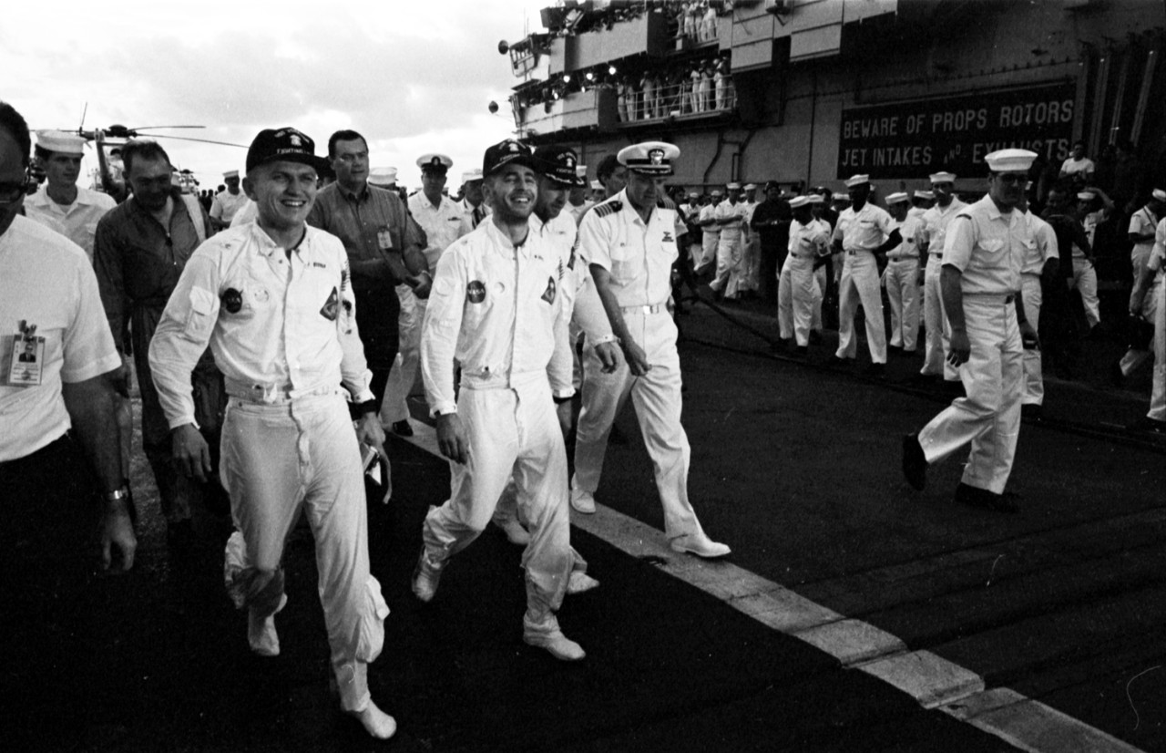 Apollo 8 Crew on Recovery Ship USS Yorktown