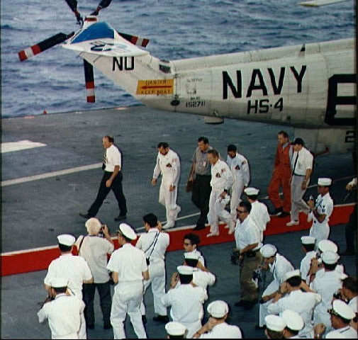 Apollo 8 crew arrive aboard the carrier USS Yorktown
