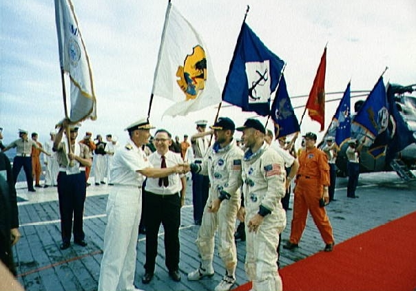 Gemini 12 crew receive official welcome aboard USS Wasp