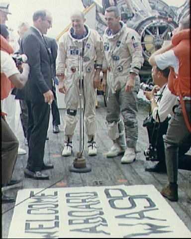 Gemini 9-A astronauts welcomed aboard USS Wasp