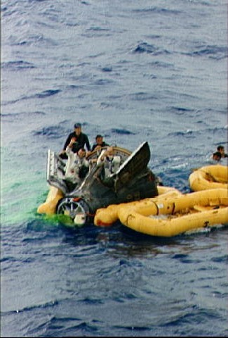 Gemini 9 astronauts await recovery operations