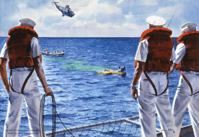 All U.S. Navy Crew, Apollo 12, Manned Landing Mission, painting by Paul D. Ortlip