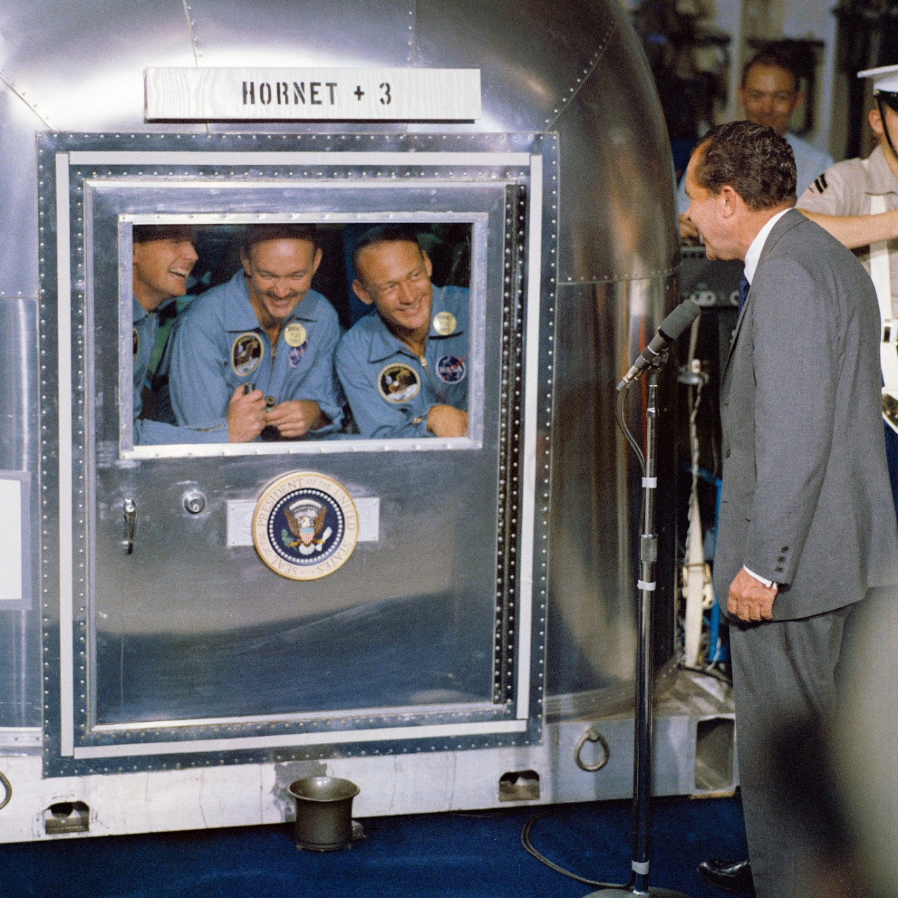 <p>President Richard M. Nixon was in the central Pacific recovery area to welcome the Apollo 11 astronauts aboard USS <i>Hornet</i>, prime recovery ship for the historic Apollo 11 lunar landing mission.</p>