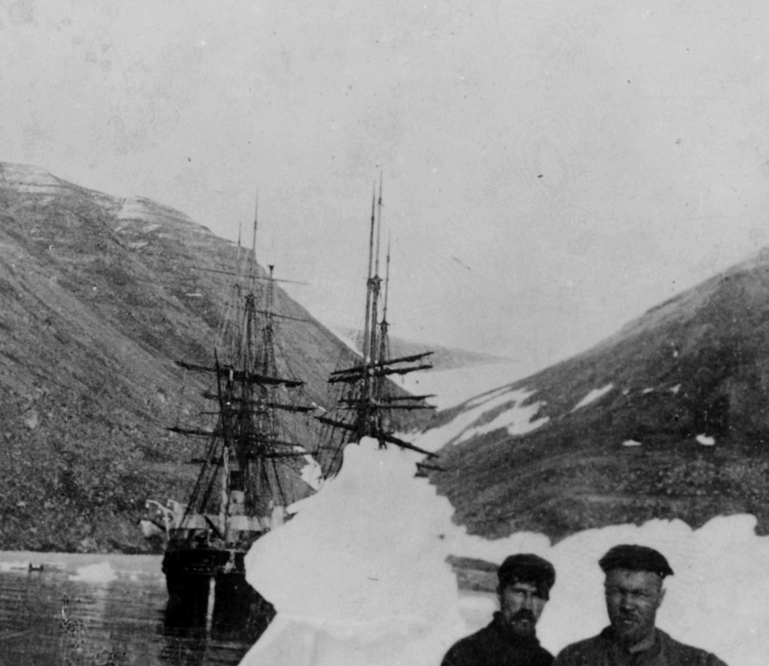 Peary Arctic Expedition, 1898-1901. Ships WINDWARD and ERIC at Nuerke, Greenland