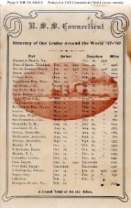 NH 106168-KN: Postcard with itinerary for USS Connecticut.