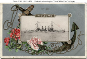 NH 106121-KN: Postcard commemorating fleet's visit to Japan depicting Connecticut-class battleship.