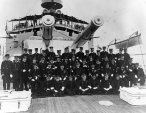 NH 82511: USS Missouri officers with officers from Japanese armored cruiser Nisshin aboard USS Missouri.