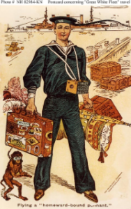 "NH 82984-KN: ""Flying a homeward-bound pennant"": Postcard depicting a Sailor of the Great White Fleet."