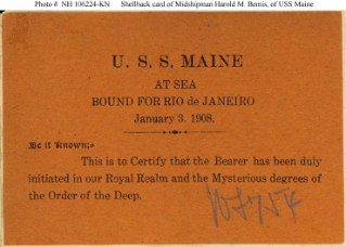 NH 106224-KN: Equator crossing card given to Midshipman Harold M. Bemis of USS Maine.