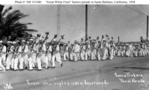 NH 101486: Sailors at a parade in Santa Barbara, California.