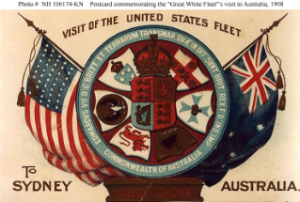 NH 106174-KN: Postcard commemorating fleet's visit to Sydney, Australia.
